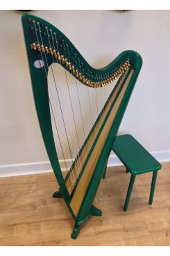 34 String Claddagh Harp - Emblem Green